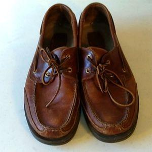 vtg men's leather rockport boat shoe